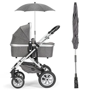 Universal Sonnenschirm Sonnenschutz für Kinderwagen & Buggy - UV Schutz 50+ / 73 cm Durchmesser / biegsam / Universalhalterung für Rund- und Ovalrohre - Melange Grau - 5