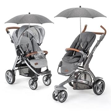 Universal Sonnenschirm Sonnenschutz für Kinderwagen & Buggy - UV Schutz 50+ / 73 cm Durchmesser / biegsam / Universalhalterung für Rund- und Ovalrohre - Melange Grau - 6