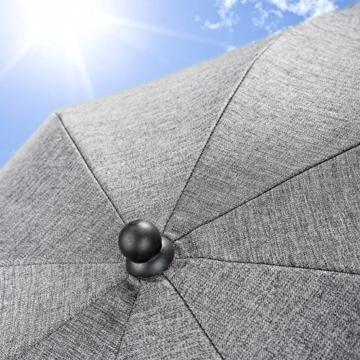 Universal Sonnenschirm Sonnenschutz für Kinderwagen & Buggy - UV Schutz 50+ / 73 cm Durchmesser / biegsam / Universalhalterung für Rund- und Ovalrohre - Melange Grau - 7