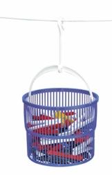 Wenko Wäscheklammer-Korb Set, inkl, 30 Wäscheklammern, Ø 19 x 9 cm, blau - 1