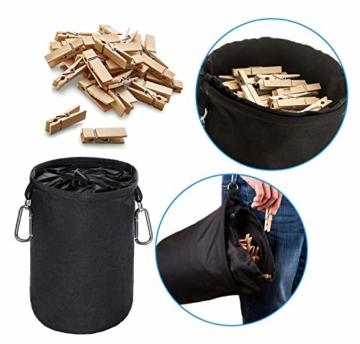 XCOZU Wäscheklammer Beutel zum Aufhängen, Klammerbeutel Wasserdicht mit 2 Kleiderbügel Clips hält Pegs sauber und trocken für Indoor Outdoor Pegs Organizer Lagerung verwenden - 6