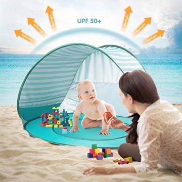 Yalojan Baby Strandzelt mit eingebautem Pool, Tragbares Leichtes Pop-up Baby Strand Zelt, Markise UPF 50+, geeignet für Kinder von 0 bis 3 Jahren, bietet Platz für 1-2 Kinder. (Grüner Streifen) - 2