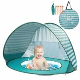 Yalojan Baby Strandzelt mit eingebautem Pool, Tragbares Leichtes Pop-up Baby Strand Zelt, Markise UPF 50+, geeignet für Kinder von 0 bis 3 Jahren, bietet Platz für 1-2 Kinder. (Grüner Streifen) - 1