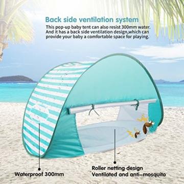 Yalojan Baby Strandzelt mit eingebautem Pool, Tragbares Leichtes Pop-up Baby Strand Zelt, Markise UPF 50+, geeignet für Kinder von 0 bis 3 Jahren, bietet Platz für 1-2 Kinder. (Grüner Streifen) - 3