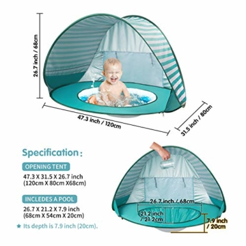 Yalojan Baby Strandzelt mit eingebautem Pool, Tragbares Leichtes Pop-up Baby Strand Zelt, Markise UPF 50+, geeignet für Kinder von 0 bis 3 Jahren, bietet Platz für 1-2 Kinder. (Grüner Streifen) - 5