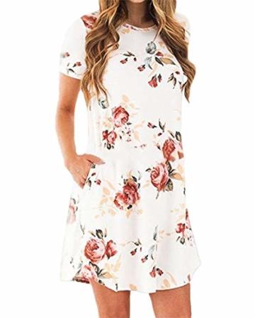 YOINS Sommerkleid Damen Tunika Tshirt Kleid Bluse Kurzarm MiniKleid Boho Maxikleid Rundhals ,Kurzarm-weiß,CN L - 2