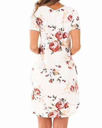 YOINS Sommerkleid Damen Tunika Tshirt Kleid Bluse Kurzarm MiniKleid Boho Maxikleid Rundhals ,Kurzarm-weiß,CN L - 3