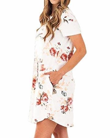 YOINS Sommerkleid Damen Tunika Tshirt Kleid Bluse Kurzarm MiniKleid Boho Maxikleid Rundhals ,Kurzarm-weiß,CN L - 4