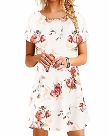 YOINS Sommerkleid Damen Tunika Tshirt Kleid Bluse Kurzarm MiniKleid Boho Maxikleid Rundhals ,Kurzarm-weiß,CN L - 1
