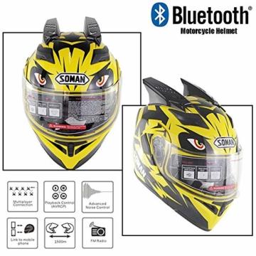 ZFAME Off-Road-modulare Motorrad Bluetooth Helm Flip Front Doppelsonnenschirm Rennhelm mit Walkie-Talkie, FM-Radio, automatische Rufannahme,XXL(63cm~64cm) - 2