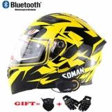 ZFAME Off-Road-modulare Motorrad Bluetooth Helm Flip Front Doppelsonnenschirm Rennhelm mit Walkie-Talkie, FM-Radio, automatische Rufannahme,XXL(63cm~64cm) - 1