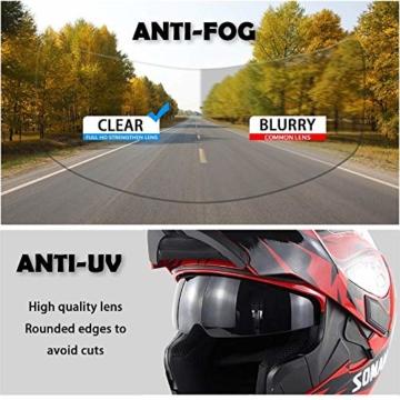 ZFAME Off-Road-modulare Motorrad Bluetooth Helm Flip Front Doppelsonnenschirm Rennhelm mit Walkie-Talkie, FM-Radio, automatische Rufannahme,XXL(63cm~64cm) - 4
