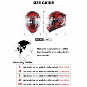 ZFAME Off-Road-modulare Motorrad Bluetooth Helm Flip Front Doppelsonnenschirm Rennhelm mit Walkie-Talkie, FM-Radio, automatische Rufannahme,XXL(63cm~64cm) - 7