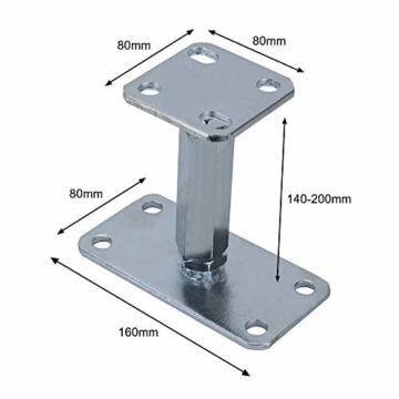 AllRight Pfostenträger höhenverstellbar Höhe 140-200 mm mit Platte 80 x 80 mm und verdecktem Anschluss Galvanisch Verzinkt zum Aufschrauben - 2
