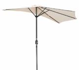 Angel Living 270cm Halbrund Sonnenschirm, Marktschirm,Terrassenschirm mit Kurbel für Garten,Terrassen, Höfe,Schwimmbäder,mit UV-Schutz 40+ Creme - 1