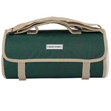 anndora Picknickdecke Wasserabweisende isolierende Unterseite 150x200 cm dunkelgrün beige Camping Strand Picknick - 2