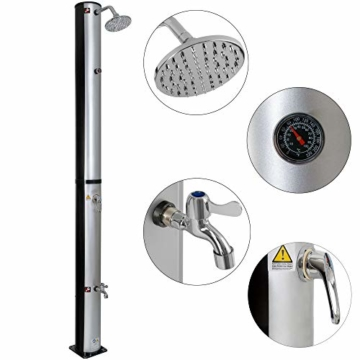 Arebos Solardusche 37 L | 199 cm | Regulierbare Wassertemperatur bis 60° | Mit Fußdusche und Thermometer | Schwenkbarer Duschkopf - 1
