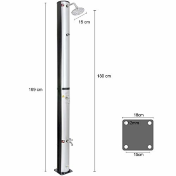 Arebos Solardusche 37 L | 199 cm | Regulierbare Wassertemperatur bis 60° | Mit Fußdusche und Thermometer | Schwenkbarer Duschkopf - 6