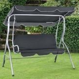 ArtLife Hollywoodschaukel 3-Sitzer mit Dach & Sitzauflage – Gartenschaukel 200 kg belastbar – Schaukelbank für Garten & Terrasse - grau - 1