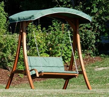 ASS Design Hollywoodschaukel Gartenschaukel Hollywood Schaukel aus Holz Lärche, Farbe:Grün - 6