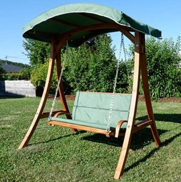 ASS Design Hollywoodschaukel Gartenschaukel Hollywood Schaukel aus Holz Lärche, Farbe:Grün - 8