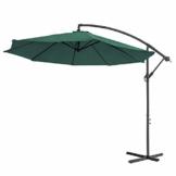 Aufun Alu Sonnenschirme 350cm mit kurbel UV Schutz 40+ - Grün balkonschirm gartenschirm höhenverstellbarer (Grün) - 1