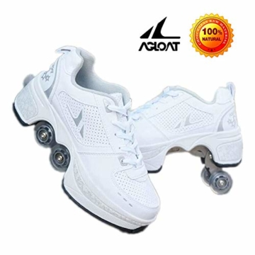AXYQ Inline-Skate, 2-in-1-Mehrzweckschuhe, Verstellbare Quad-Rollschuh-Stiefel,White-36 - 1