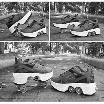AXYQ Inline-Skate, 2-in-1-Mehrzweckschuhe, Verstellbare Quad-Rollschuh-Stiefel,White-36 - 5