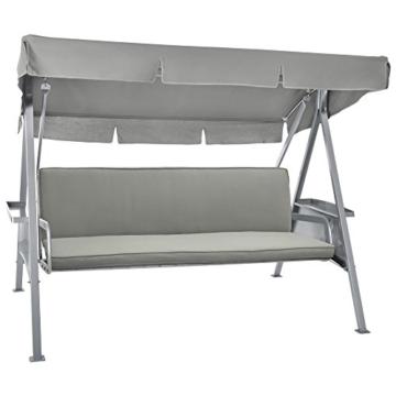 Beautissu Hollywoodschaukel Auflage Loft HS 180x50cm Auflagen für 3-Sitzer Hollywoodschaukel mit Rücken-Kissen Hellgrau erhältlich - 2