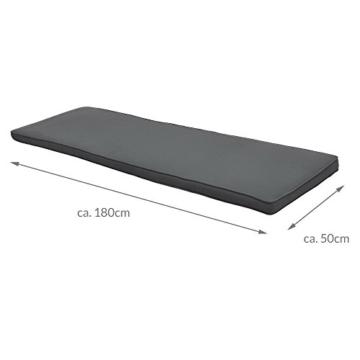 Beautissu Hollywoodschaukel Auflage Loft HS 180x50cm Auflagen für 3-Sitzer Hollywoodschaukel mit Rücken-Kissen Graphitgrau erhältlich - 6