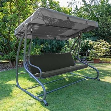 Beautissu Hollywoodschaukel Auflage Loft HS 180x50cm Auflagen für 3-Sitzer Hollywoodschaukel mit Rücken-Kissen Graphitgrau erhältlich - 9