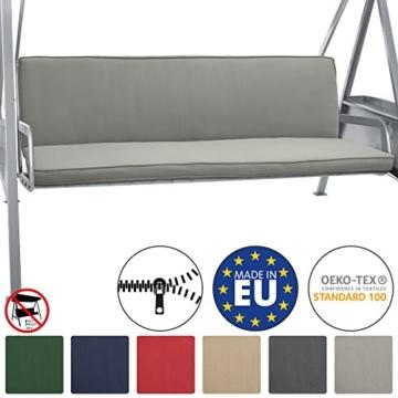Beautissu Hollywoodschaukel Auflage Loft HS 180x50cm Auflagen für 3-Sitzer Hollywoodschaukel mit Rücken-Kissen Hellgrau erhältlich - 1