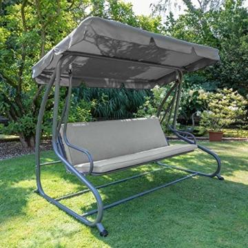 Beautissu Hollywoodschaukel Auflage Loft HS 180x50cm Auflagen für 3-Sitzer Hollywoodschaukel mit Rücken-Kissen Hellgrau erhältlich - 6