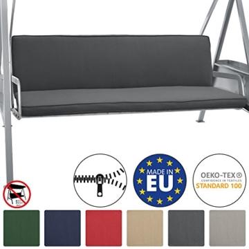Beautissu Hollywoodschaukel Auflage Loft HS 180x50cm Auflagen für 3-Sitzer Hollywoodschaukel mit Rücken-Kissen Graphitgrau erhältlich - 1