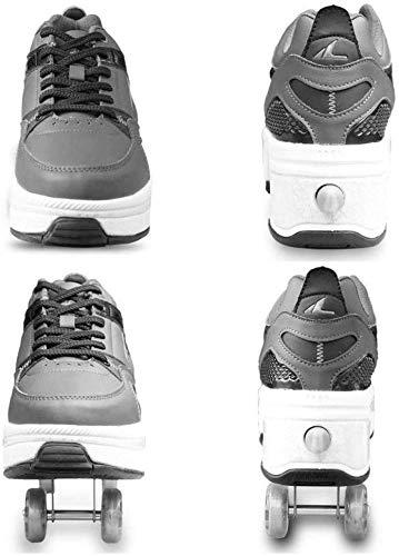 CNMF Rollschuh Roller Skates Lauflernschuhe,Sneakers,2in1 Mehrzweckschuhe Schuhe mit Rollen Skateboardschuhe,Inline-Skate,Verstellbare Quad-Rollschuh Stiefel Skateboardschuhe EU39/UK6 - 2