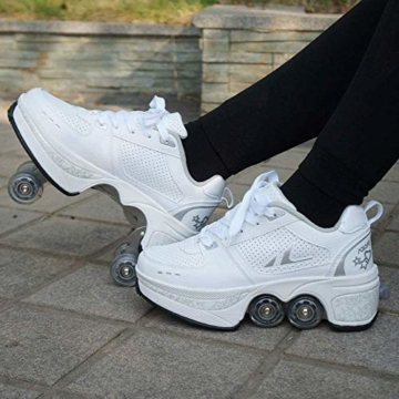 CNMF Rollschuh Roller Skates Lauflernschuhe,Sneakers,2in1 Mehrzweckschuhe Schuhe mit Rollen Skateboardschuhe,Inline-Skate,Verstellbare Quad-Rollschuh Stiefel Skateboardschuhe EU38/UK5-5.5 - 7