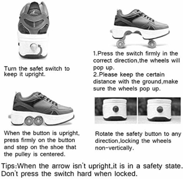 CNMF Rollschuh Roller Skates Lauflernschuhe,Sneakers,2in1 Mehrzweckschuhe Schuhe mit Rollen Skateboardschuhe,Inline-Skate,Verstellbare Quad-Rollschuh Stiefel Skateboardschuhe EU39/UK6 - 3