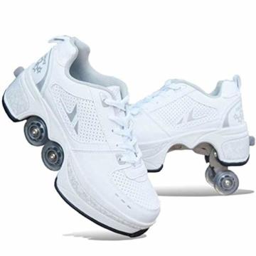 CNMF Rollschuh Roller Skates Lauflernschuhe,Sneakers,2in1 Mehrzweckschuhe Schuhe mit Rollen Skateboardschuhe,Inline-Skate,Verstellbare Quad-Rollschuh Stiefel Skateboardschuhe EU39/UK6 - 1