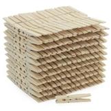 com-four® 300x naturbelassene Wäscheklammern, stabile Wäscheklammern aus hochwertigem Holz mit Metallfeder (300 Stück) - 1