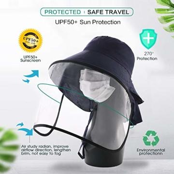 Comhats Multifunktionaler Gesichtsschutz Faltbarer Sonnenhut Abnehmbarer Schild Damen Schwarzblau - 2