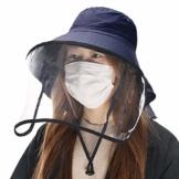 Comhats Multifunktionaler Gesichtsschutz Faltbarer Sonnenhut Abnehmbarer Schild Damen Schwarzblau - 1