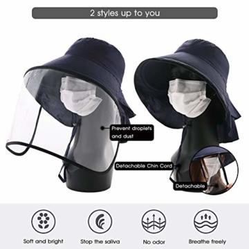 Comhats Multifunktionaler Gesichtsschutz Faltbarer Sonnenhut Abnehmbarer Schild Damen Schwarzblau - 4