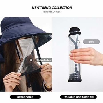 Comhats Multifunktionaler Gesichtsschutz Faltbarer Sonnenhut Abnehmbarer Schild Damen Schwarzblau - 5