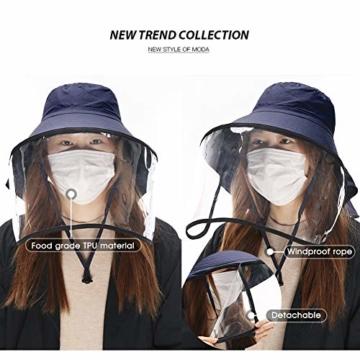 Comhats Multifunktionaler Gesichtsschutz Faltbarer Sonnenhut Abnehmbarer Schild Damen Schwarzblau - 6