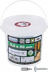 Connex Pfostenschrauben 8,0 x 50 mm - 48 Stück - TX Torx-Antrieb - Vollgewinde - Zur Befestigung von Beschlägen & Verbindern - Inkl. Bit / Pfostenverbinder-Schraube / Schrauben-Eimer / B30147 - 1