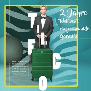 COOLIFE Hartschalen-Koffer Trolley Rollkoffer Reisekoffer mit TSA-Schloss und 4 Rollen(Schwarz, Handgepäck) - 2