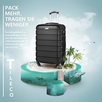COOLIFE Hartschalen-Koffer Trolley Rollkoffer Reisekoffer mit TSA-Schloss und 4 Rollen(Schwarz, Handgepäck) - 3