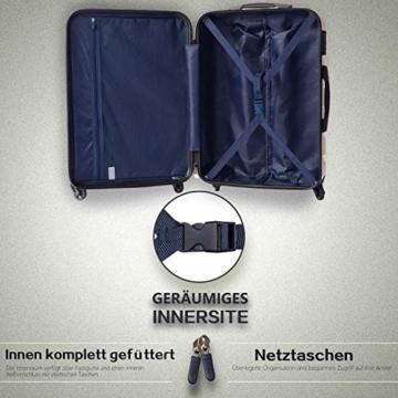COOLIFE Hartschalen-Koffer Trolley Rollkoffer Reisekoffer mit TSA-Schloss und 4 Rollen(Schwarz, Handgepäck) - 4