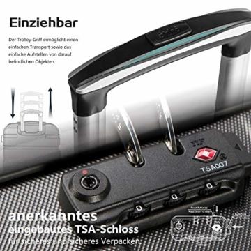 COOLIFE Hartschalen-Koffer Trolley Rollkoffer Reisekoffer mit TSA-Schloss und 4 Rollen(Schwarz, Handgepäck) - 6