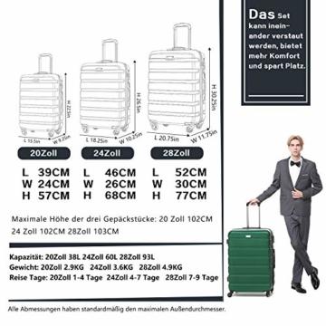 COOLIFE Hartschalen-Koffer Trolley Rollkoffer Reisekoffer mit TSA-Schloss und 4 Rollen(Schwarz, Handgepäck) - 7